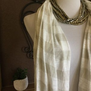 Old Navy Gray Grey White Long Striped Scarf